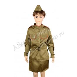 """Военный костюм """"Солдатка"""" с пилоткой арт. КС129"""