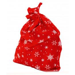 Мешок Деда Мороза красный со снежинками