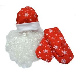 Набор Деда Мороза ВЗР. красный, ткань-плюш (шапка, варежки, борода)
