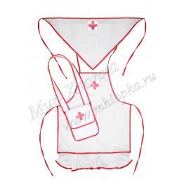 Детский фартук медика с сумкой и косынкой арт.  КС303