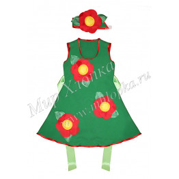 """Костюм для танцев """"Красный цветок"""" детский арт. КС309"""