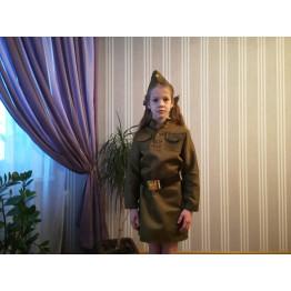 Военное платье-гимнастерка для девочки арт. КС343