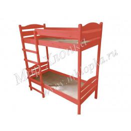 Кровать детская двухъярусная красная
