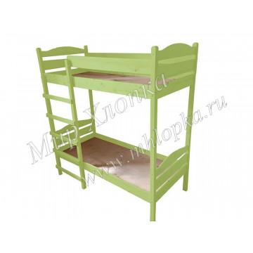 Кровать детская двухъярусная зеленая