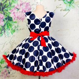 """Платье для танцев """"Стиляги"""" синий горох арт. КС372.5"""
