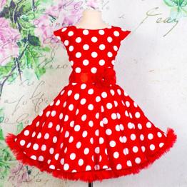 """Платье для танцев """"Стиляги"""" красное в белый горох арт. КС372.3"""