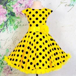 """Платье для танцев """"Стиляги"""" желтое в горох арт. КС372.4"""