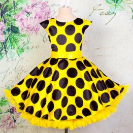 """Платье для танцев """"Стиляги"""" желтое черный горох арт. КС372.4"""